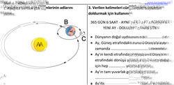 6. sınıf Ay'ın Evreleri Çalışma Kağıdı