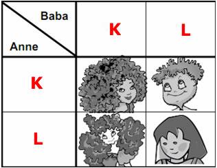 Yukarıdaki tabloda k ve l ile gösterilen genlere alel sahip anne
