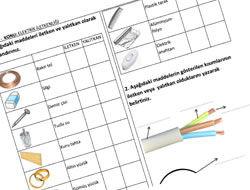 6. Sınıf İletken ve Yalıtkanlar Çalışma Kağıdı