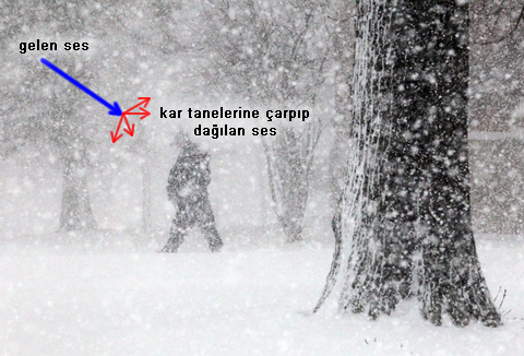 kar yağarken sesin soğrulması